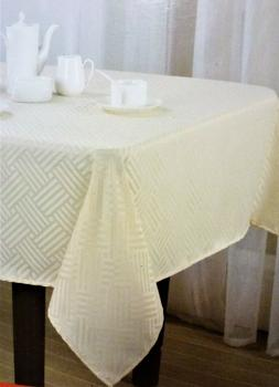 Ivory Rectangular Fabric Tablecloth 60 Inch X 84 Inch Ivory