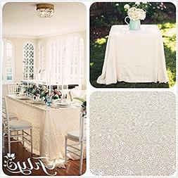 "TRLYC 60"" 105"" Ivory Sequin Table Cloth for Wedding"