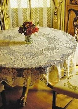 """Ivory Heritage Lace Victorian Rose 70"""" Round Tablecloth Dini"""