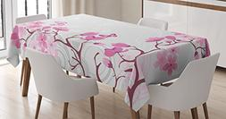 Ambesonne Japanese Decor Tablecloth, Pink Blossoms with Butt
