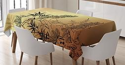 Ambesonne Japanese Decor Tablecloth, Asian Style Branches an