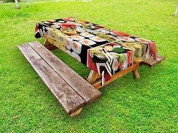 Japanese Outdoor Picnic Tablecloth Sushi Roll Colored Print