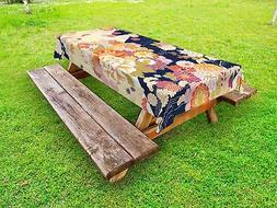 Japanese Outdoor Picnic Tablecloth Traditional Flowers Print