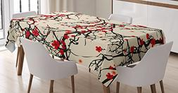 Ambesonne Japanese Tablecloth by, Asian Nature Cherry Blosso