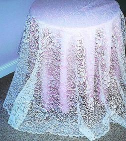 Julia Tablecloth 70 Inch Round White Lace Tablecloth Oxford