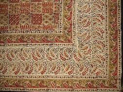 "Kalamkari Block Print Rectangle Cotton Tablecloth 90"" x 60"""