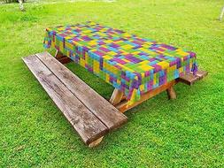 Kids Outdoor Picnic Tablecloth Colorful Blocks Game Cube Pri