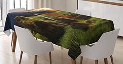 Ambesonne King Tablecloth, Arthur Camelot Legend Myth in Eng
