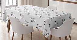 Ambesonne Kitten Tablecloth, Sketching of a Blushing Cat Fac
