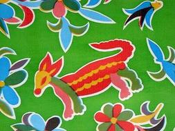 KIWI LIME GREEN AZTEC MEXICAN FIESTA ANIMALS VINYL OILCLOTH