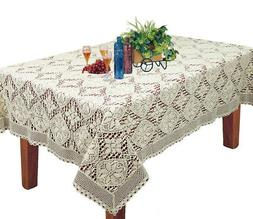 Creative Linens Knitted Crochet Lace Tablecloth BEIGE 60x104