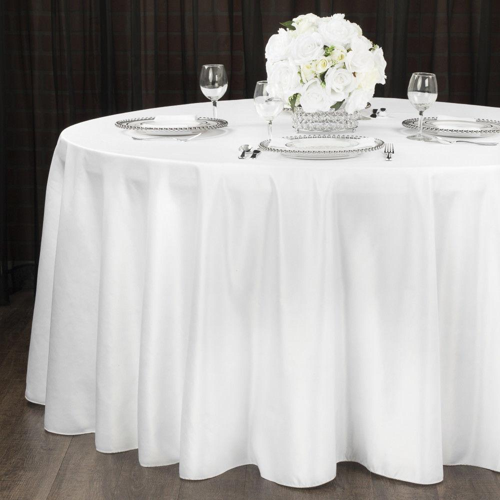 """1 to White 120"""" Tablecloth Polyester Table Cover"""