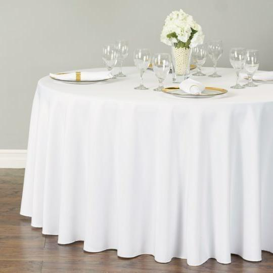 """1 to 50 PACK White 120"""" inch ROUND Tablecloth Polyester 5' F"""