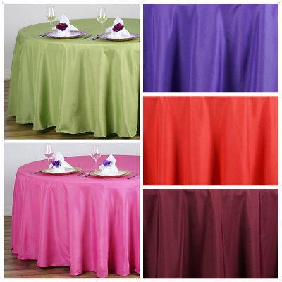 """108"""" Round Polyester Tablecloth Wedding Table Linens Decorat"""