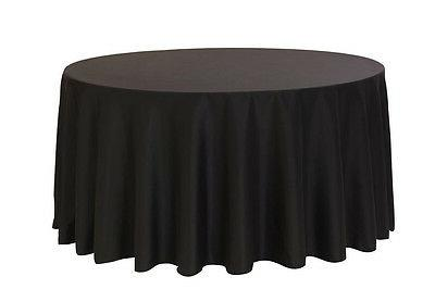 108 inch Round Polyester Tablecloth Black, For 4 Ft,5 Ft,6 F