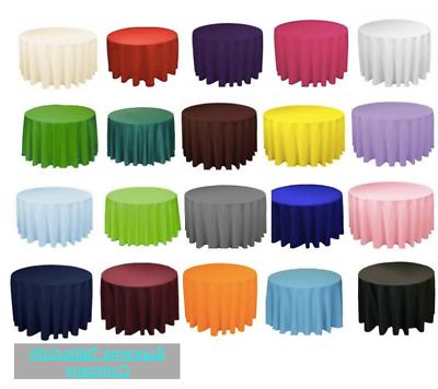 18 packs 120 inch round polyester tablecloth