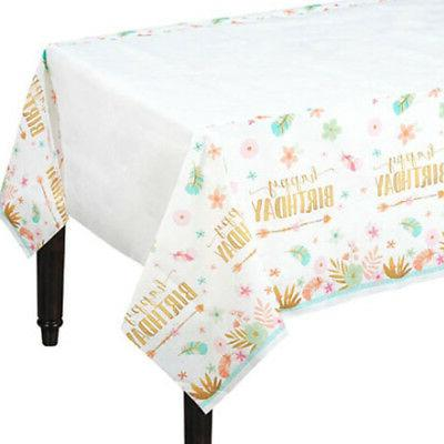 1st BIRTHDAY Boho Girl PAPER TABLE COVER ~ Party Supplies De