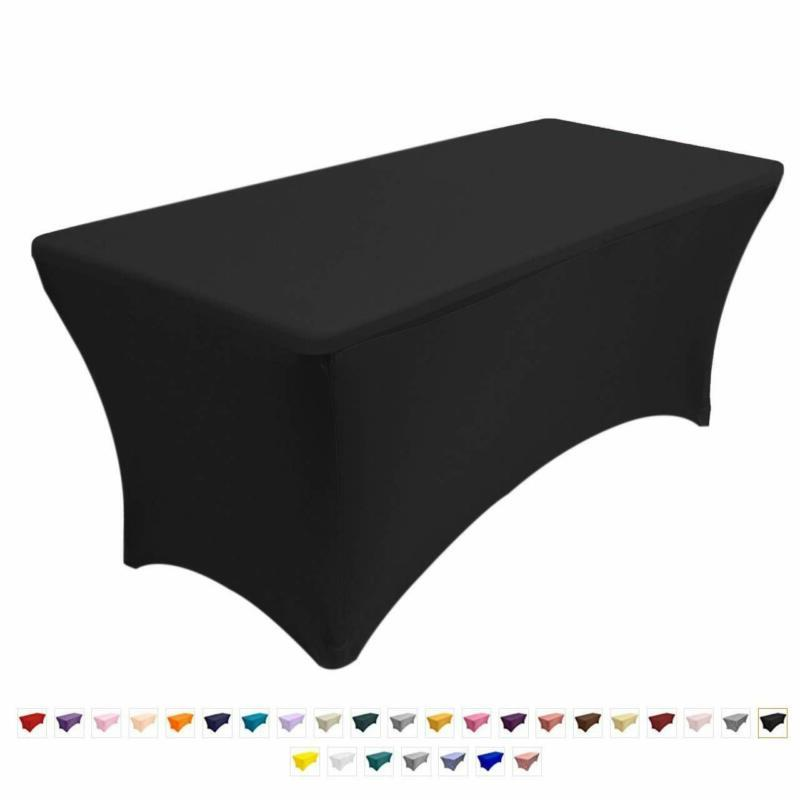 6 ft Black DJ Table Cover Stretch Scrim Spandex Type Table S