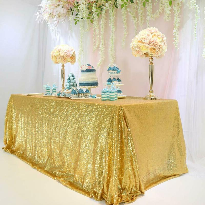 "TRLYC 60""102"" Sparkly Wedding Gold Table Cloth Sequin Tablec"