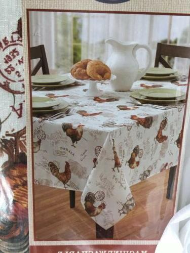 60 x104 oblong textured poly rooster tablecloth