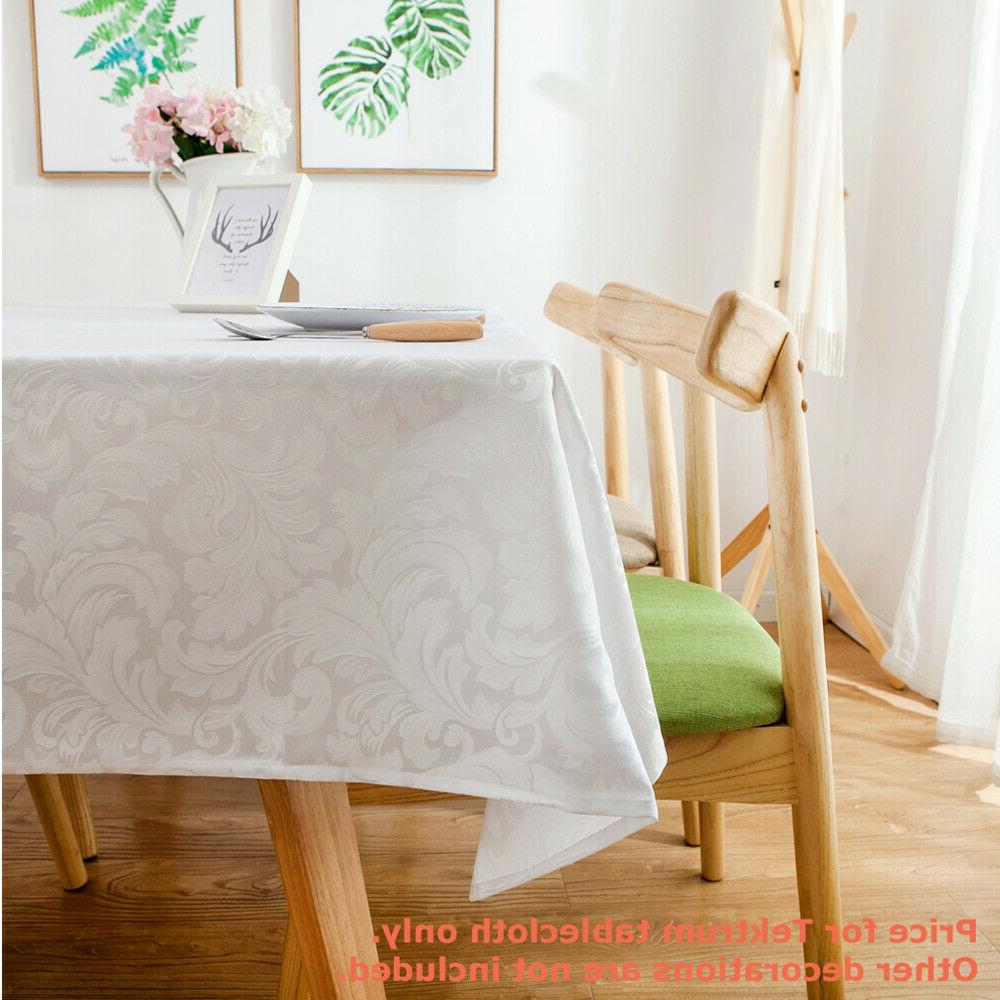 """Tektrum 60""""X120"""" Tablecloth-Waterproof/Stain Resistant -White"""