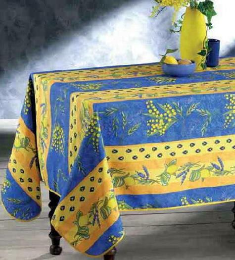 60x80 rectangle floral lemons blue yellow country