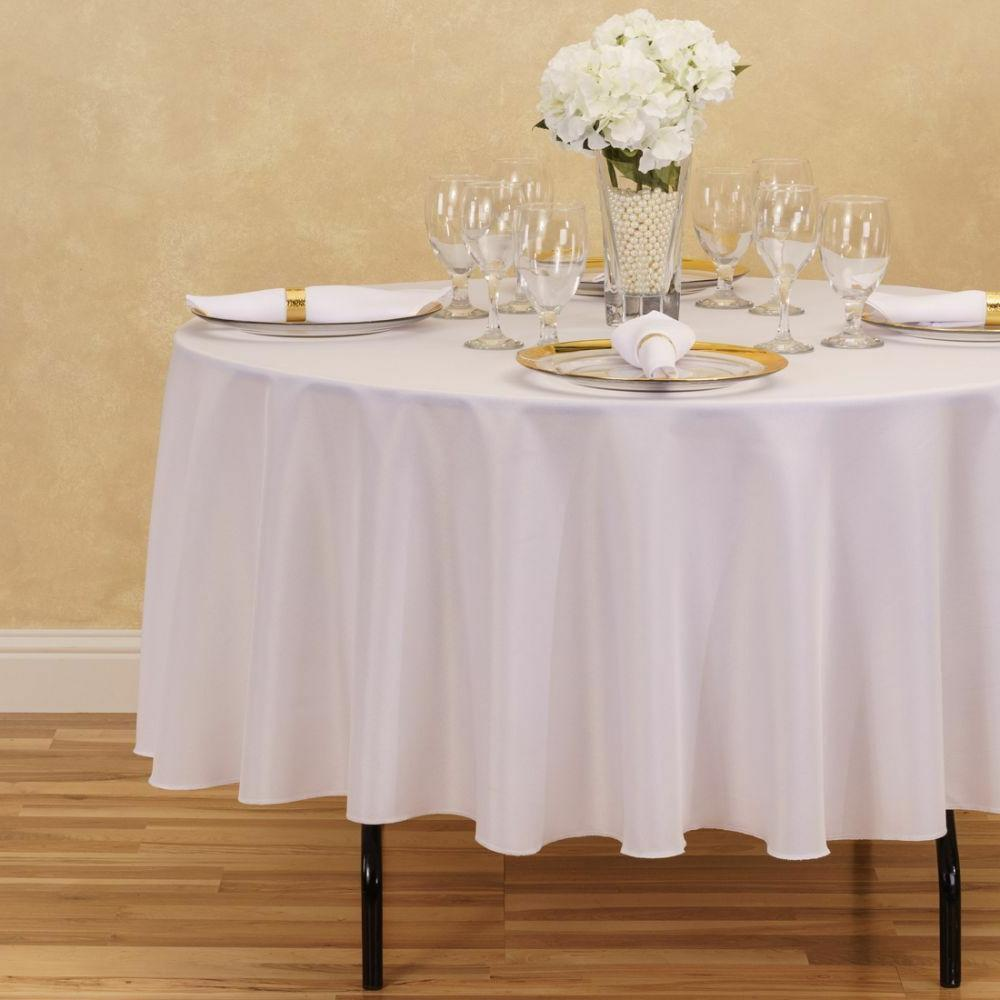 LinenTablecloth 90-Inch Round Polyester Tablecloth,  White