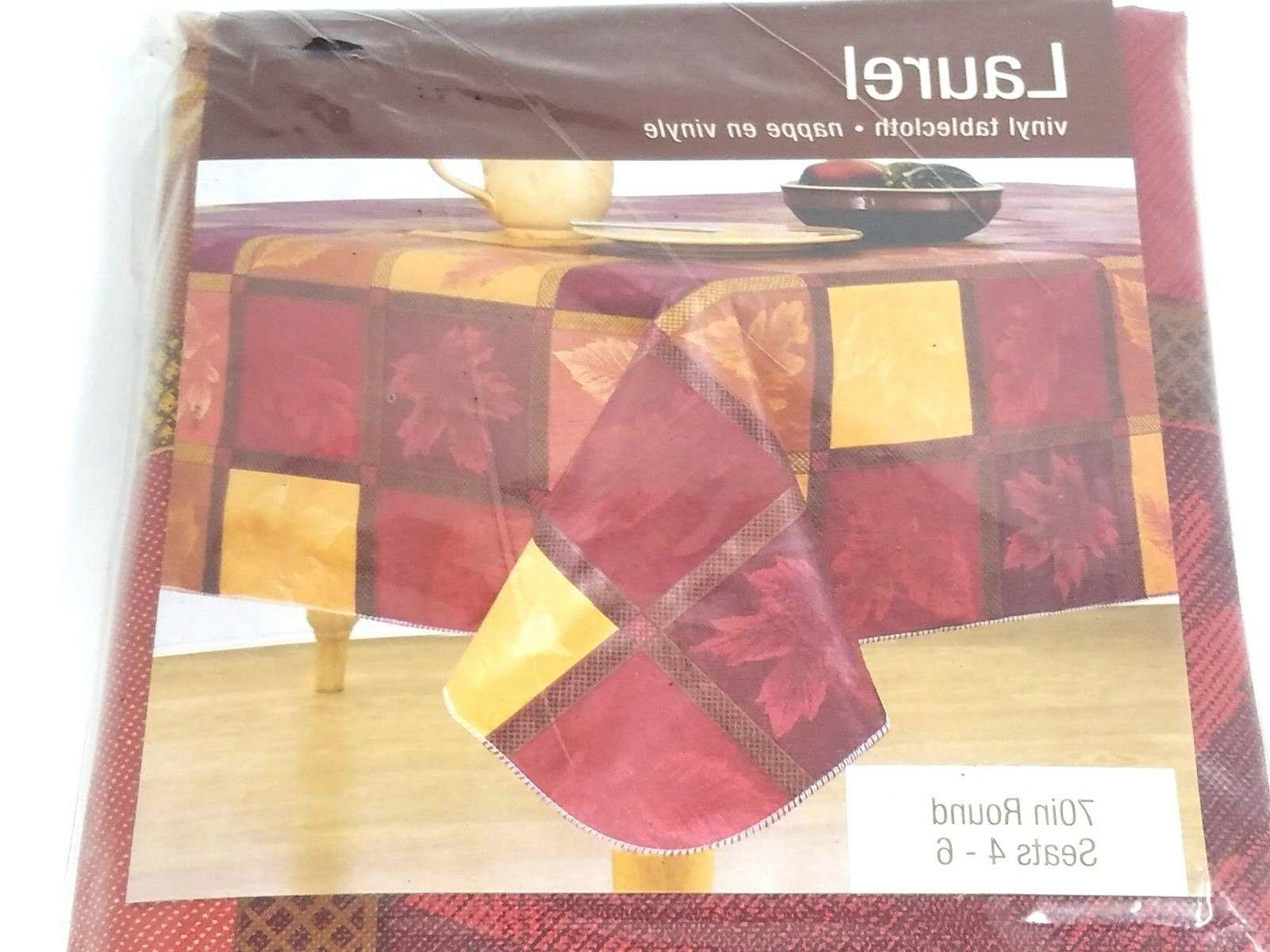 70 inch round vinyl tablecloth fall pattern