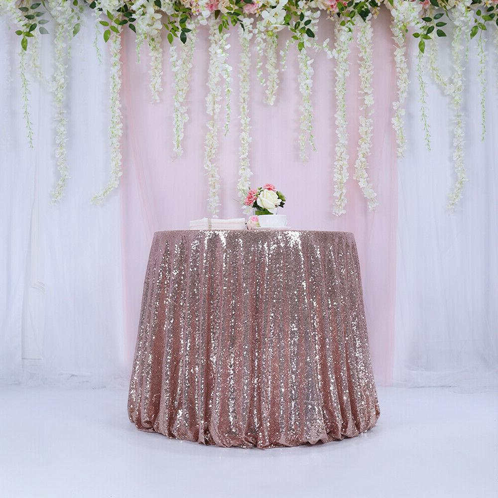 """Trlyc 108"""" Rose Sequin Round Wedding Party Decoration"""