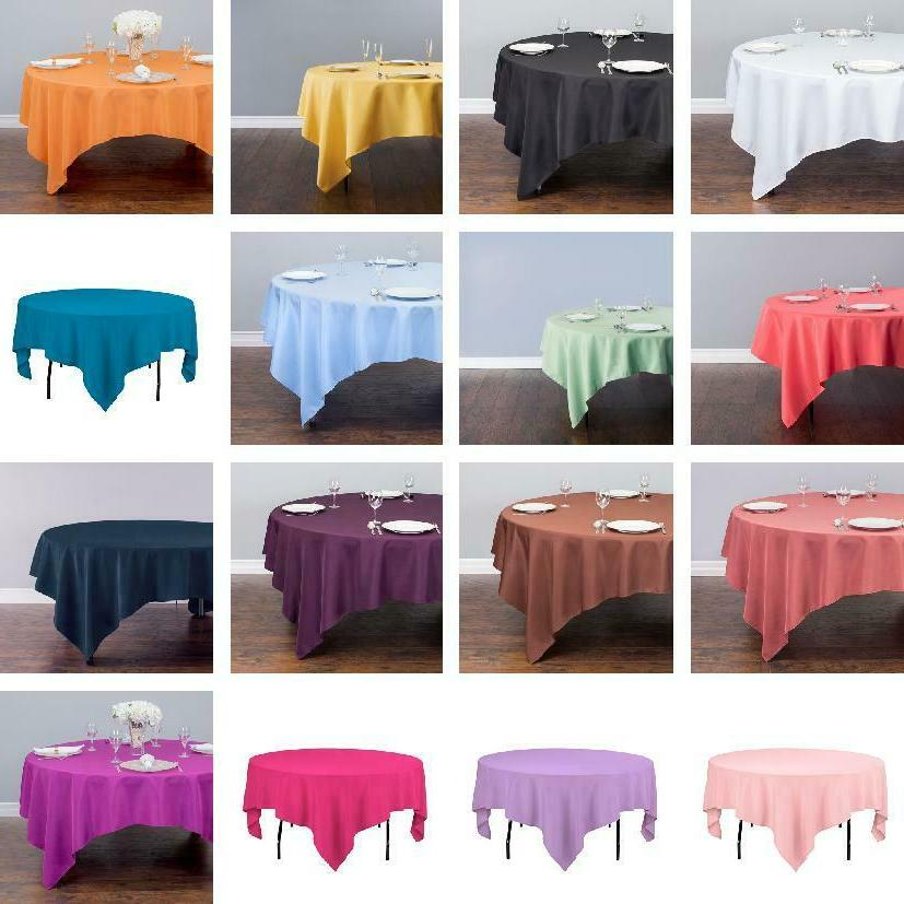 85 in square polyester tablecloth 33 colors