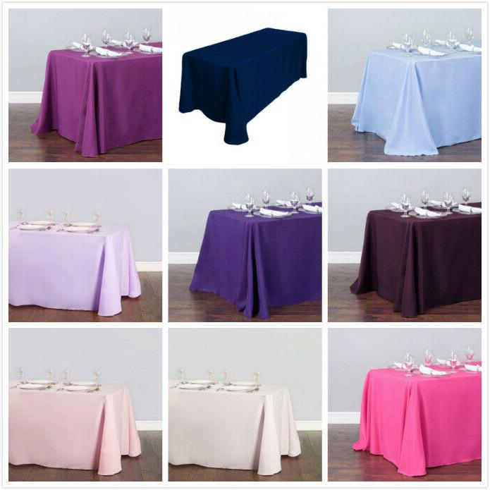 1/10 90 132 Polyester Linen Tablecloth Wedding Event Party