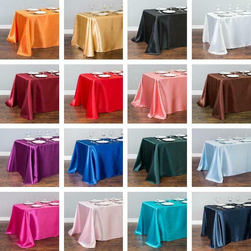 60x102 in rectangular satin tablecloths 33 colors