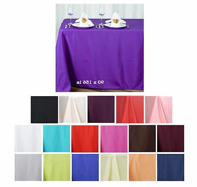 "90x156"" Polyester Rectangle Tablecloths For Wedding Party Ba"