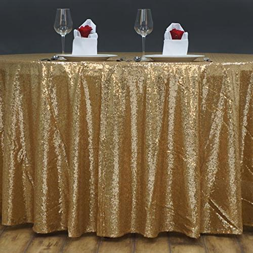BalsaCircle 108-Inch Sequin Round Party Events Table