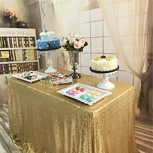 BalsaCircle 60x102-Inch Gold Tablecloth Party Cake Events Linens