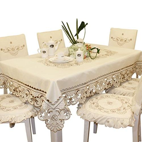brown flower embroidered lace cream
