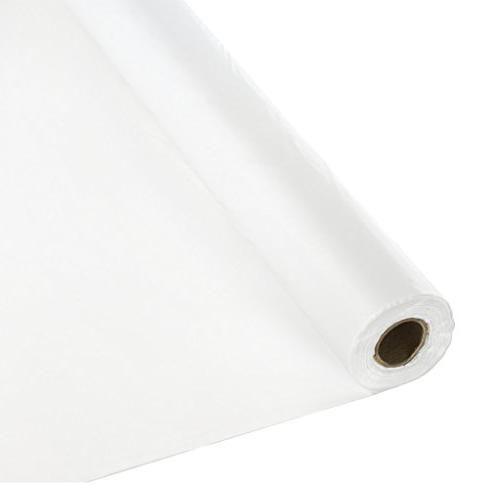 Creative Converting Roll Plastic Table Cover, 100-Feet, Whit