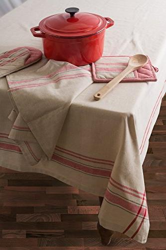DII 100% Machine Washable, Everyday Kitchen Tablecloth For Parties, & Outdoor Picnics 6 8 Red