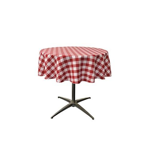 """LA Linen Poly Checkered Round Tablecloth, 51"""", Red/White"""