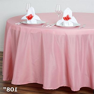 LinenTablecloth 108-Inch Round Polyester Tablecloth White