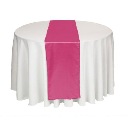 LinenTablecloth 14 x 108-Inch Satin Table Runner Fuchsia