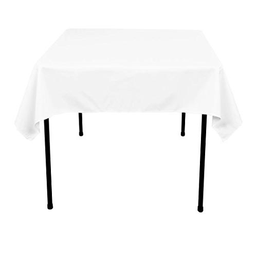LinenTablecloth 54-Inch Square Polyester Tablecloth White