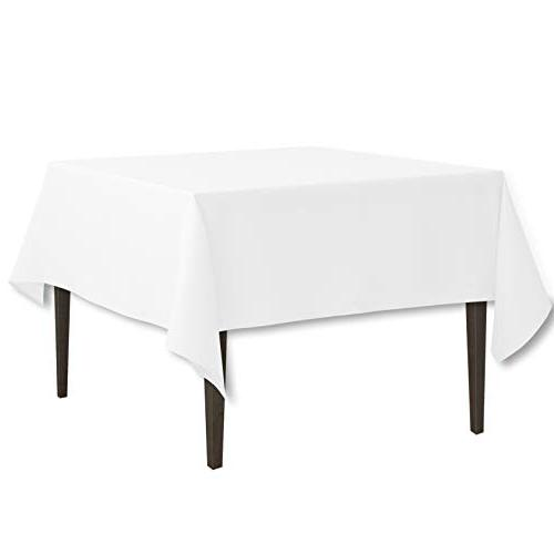 LinenTablecloth 85-Inch Square Polyester Tablecloth White