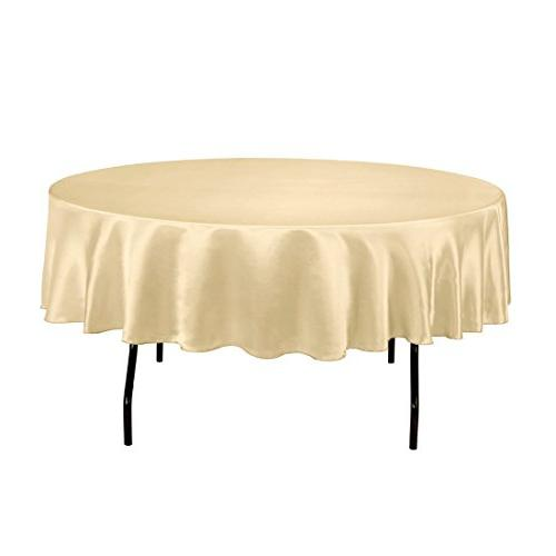 LinenTablecloth 90-Inch Satin Tablecloth, Round, Gold