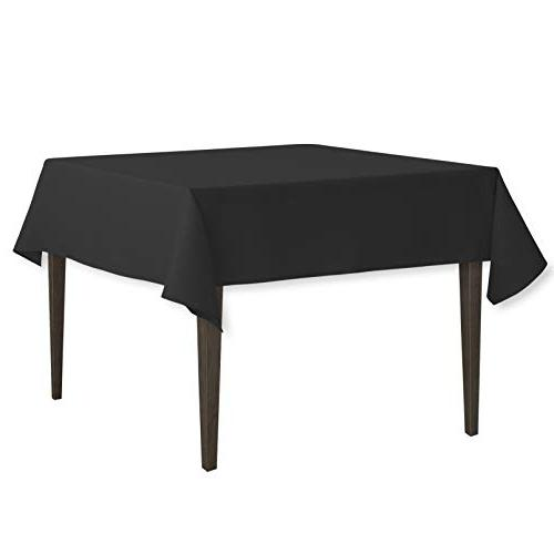 LinenTablecloth Square Cotton Feel Tablecloth, 52-Inch, Blac