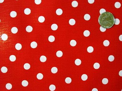 RED + WHITE POLKA DOT MINNIE MOUSE HOLIDAY DINE OILCLOTH VIN