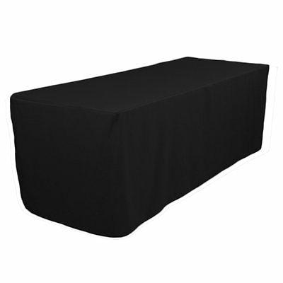 Revelae 6 Foot Black Fitted Tablecloth