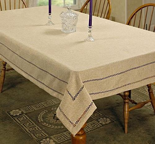Violet Linen Hem Stitch Embroidered Vintage Design Oblong/Re
