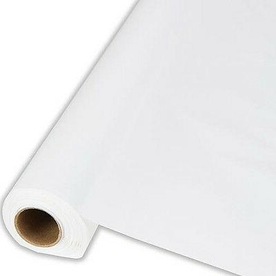 """White Plastic Banquet Tablecloth Cover Roll - 40"""" x 300' - C"""