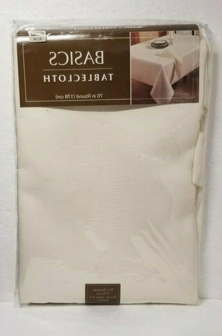 basics tablecloth 70 inch round color cream